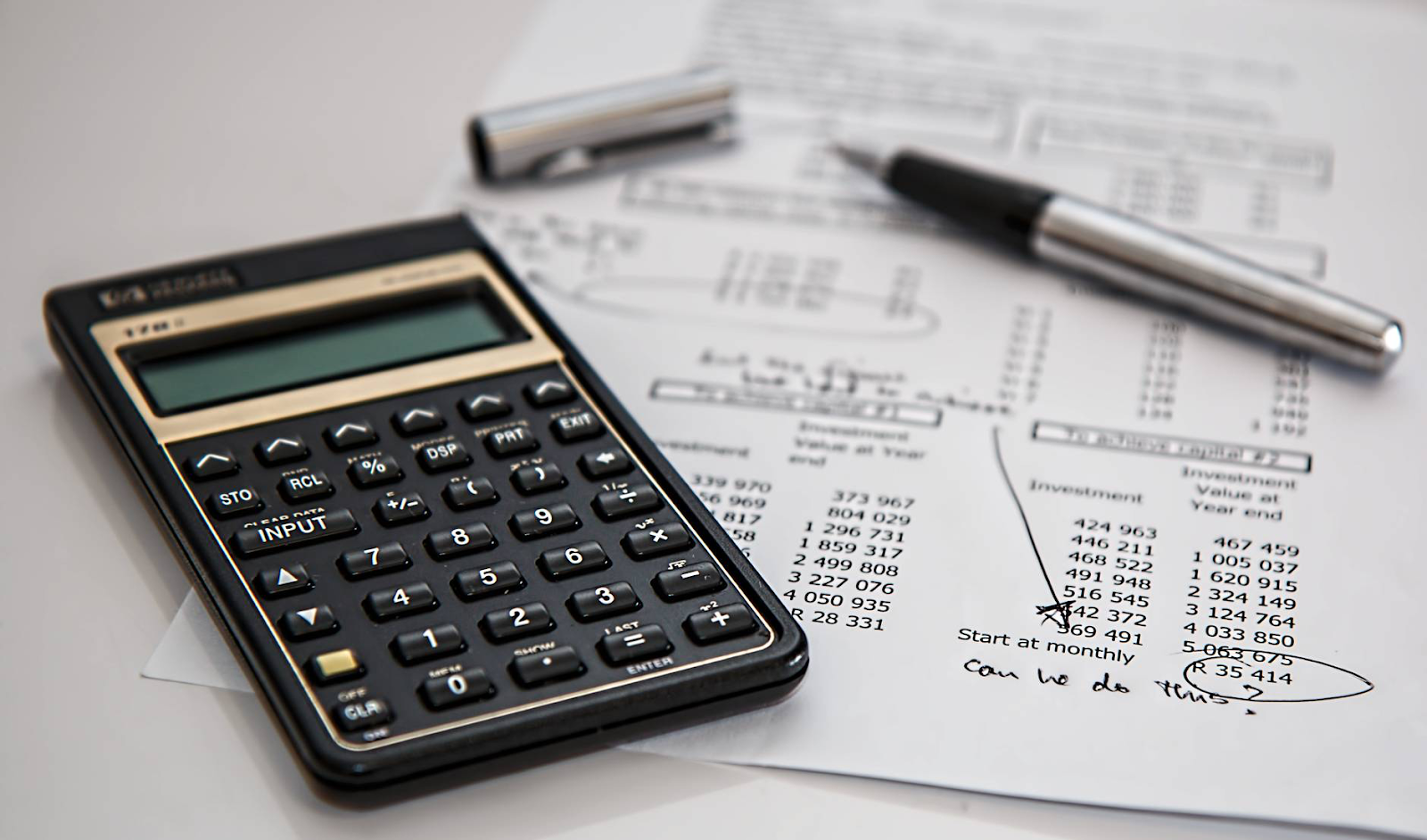 Calculator and financial statements